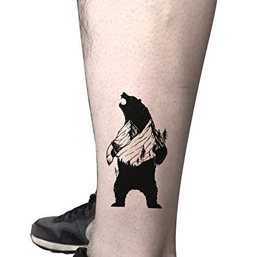 TAFLY Black Bear Animal Temporary Tattoo Body Art Tattoo Stickers 5 Sheets