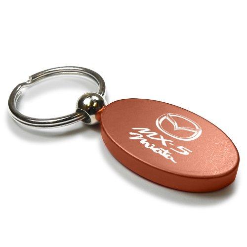 Orange Aluminum Metal Oval Mazda Miata MX5 Logo Key Chain Fob Chrome Ring
