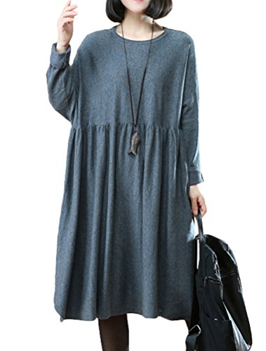 Mordenmiss Women's Spring/Fall Pleated Waist A-line Sweater Dress