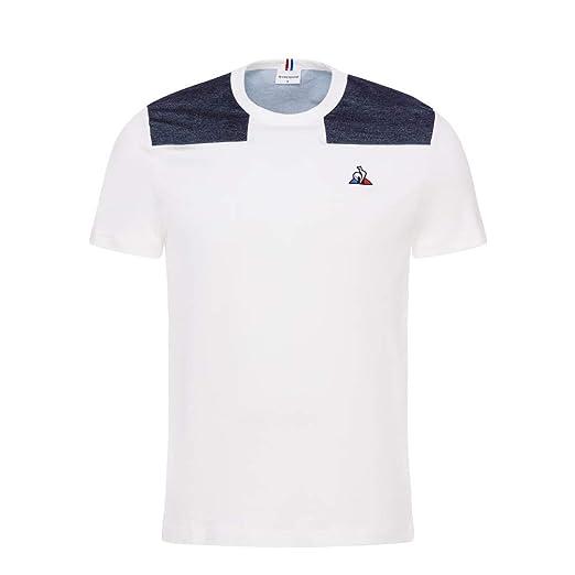 Le Coq Sportif - Camiseta - Tri - Blanco/Azul (XL): Amazon.es ...