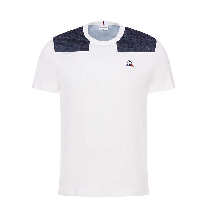 Le Coq Sportif - Camiseta - Tri - Blanco/Azul (L): Amazon.es: Ropa ...