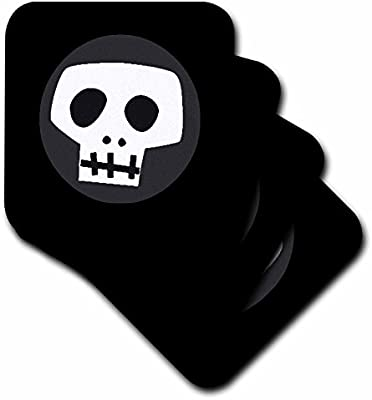3dRose cst/_17058/_3 Skull-Ceramic Tile Coasters Set of 4
