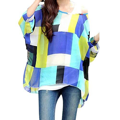 Haut Spcial 3 Longues Mousseline lgant Tops Rond Modle Boho Mince Chemise Bouffant Colour Style Femme Blusen Impression Top Confortable Et Col Irrgulier Manches gSqWnR8vB