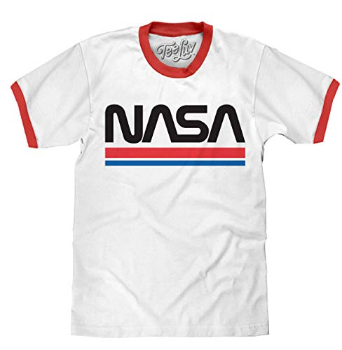 Tee Luv NASA Shirt - Classic NASA Worm Logo Ringer T-Shirt (White/Red) (Medium)