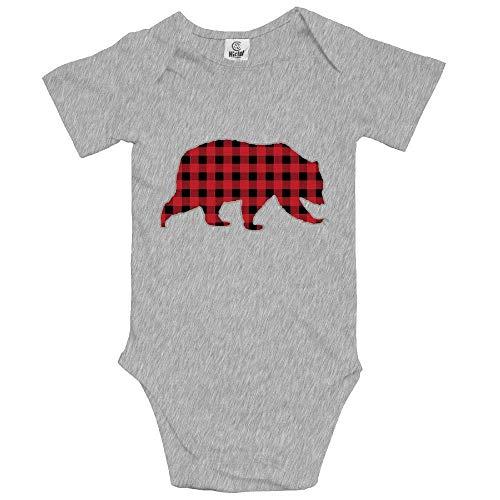 (Bear Buffalo Plaid Family Infant Baby Bodysuits Cotton Bodysuit)