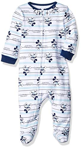 Disney Baby Boys Newborn Footed Sleep and Play, Blue Mickey, 3/6 Months