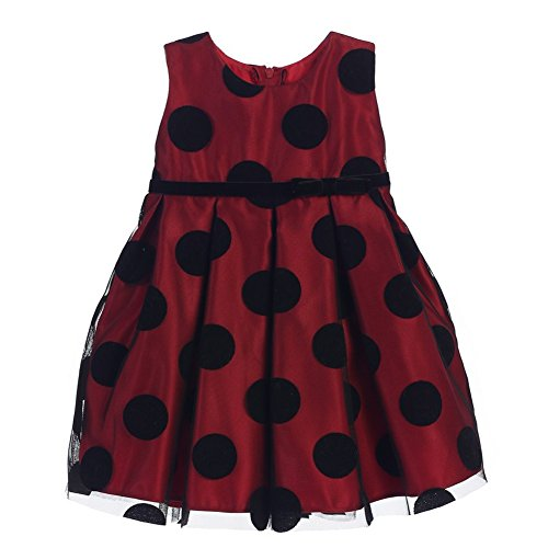 Sweet Kids Baby Girls Red Black Polka Dot Flocked Mesh Christmas Dress 6M