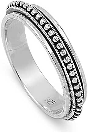 Sterling Silver Bali Spinner Ring (Size 5 - 13)