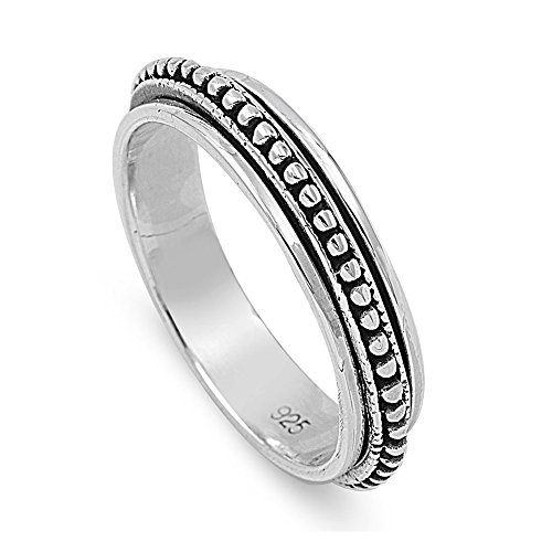 Sterling Silver Bali Spinner Ring - Size 6 ()