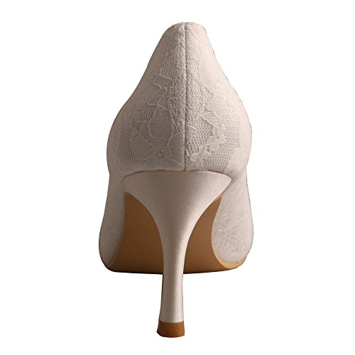 Wedding Lace Wedopus Ivory High Bridal Toe Pumps Dress Heel Peep Shoes MW1203B Women's Bridal w4gw8Y