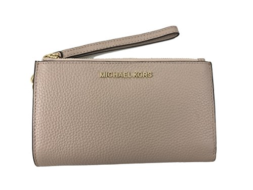 Michael Kors Jet Set Travel Double Zip Leather Wristlet Wallet in Ballet Pink by Michael Kors