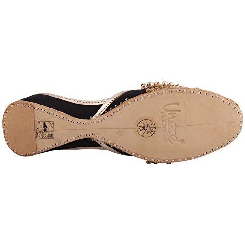 Nero 3 Casual delle Formato di Doppio Cuoio Khussa Scarpe Piatto Signore Tradizionale Britannico 8 Unze Pantofole Donne Ricamo Videha Indiano Tono gnFURpzq