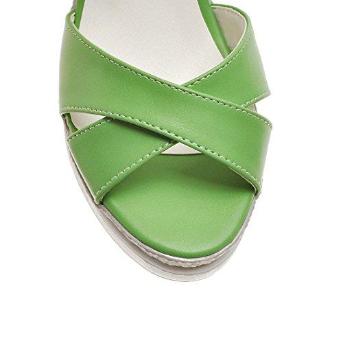 Plateform Bout Confortables Simple Vert UH Compensees à Ouvert et Bride Femmes Sandales avec Talons Moyen xxqzPfO