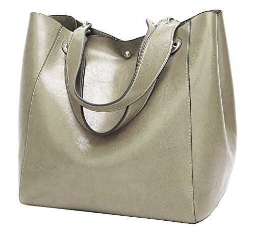 - Molodo Womens Satchel Hobo Top Handle Tote Leather Handbag Designer Shoulder Purse Bucket Crossbody Bag (Grey)