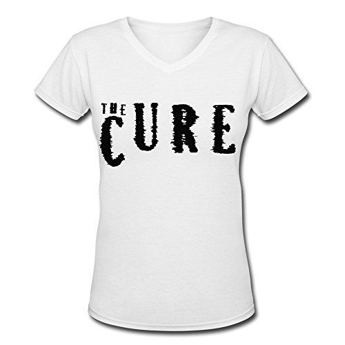 ZL Alternative Rock Band The Cure Tour 2015 Logo V Neck T Shirt For Women White L