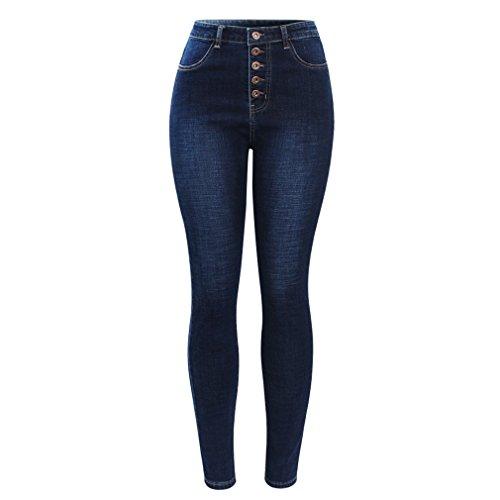 Waist Button vola Pantaloni High blu per Jeans Skinny Pantaloni estendibili scuro Blu Jeans Linyin donne A5z8q7w8S