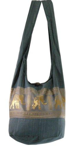 Gray Cotton Printed Elephants Sling Crossbody Shoulder Hippie Boho Hobo Messenger Bag HG03, Bags Central