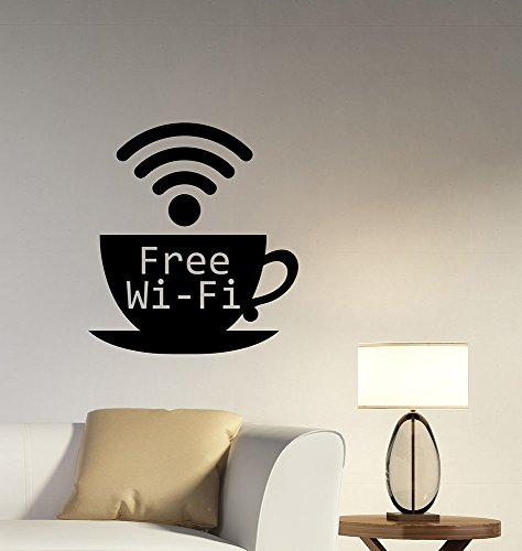 Wifi Sign Wall Sticker Removable Vinyl Window Decal Logo Design Art Decorations for Home Room Internet Club Cafe Decor - College Center Shopping Station