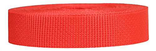 Strapworks Lightweight Polypropylene Webbing - Poly Strapping for Outdoor DIY Gear Repair, Pet Collars, Crafts - 1 Inch x 50 Yards - Blood Orange