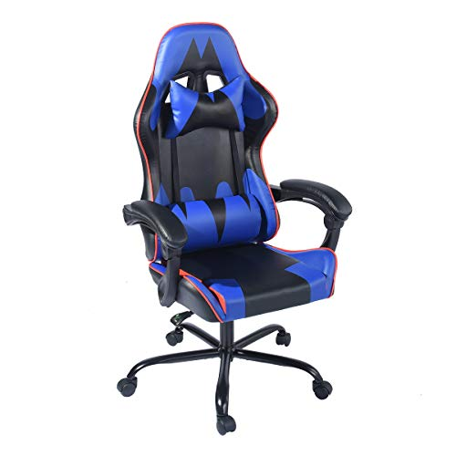 HOUSEINBOX.COM Racing Style Gaming Chair Execultive PU Leather Headrest,Recliner Lumbar Support Cushion Ergonomic,Adjustable Height Swivel Home Office PC Computer Chair(Blue&Black)