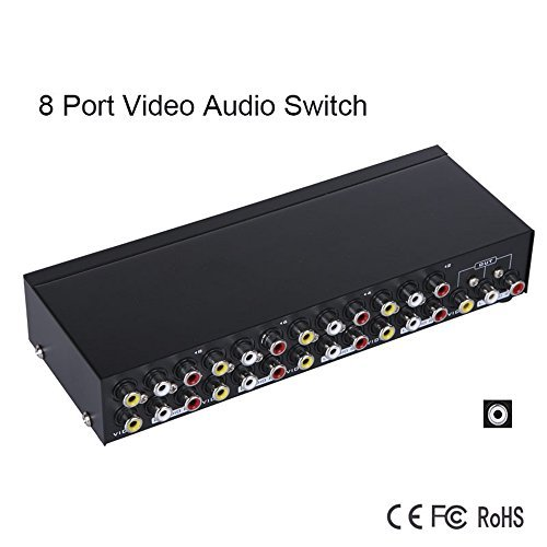 (AV Switch, 8 in 1 Out Audio Video Selector Metal Housing RCA Switcher for Cable Box DVD DVR Analog TV)