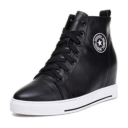 Leather Flat Mujer Cerrado Heel Black Blanca de Zapatos Spring con roja Negra Nappa Summer Sneakers Comfort ZHZNVX Punta zFIER