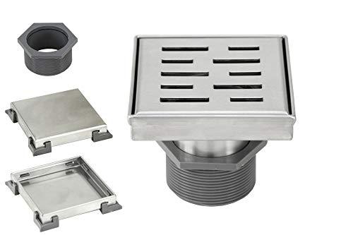 4 Inch Shower Square Shower Floor Drain – Stripe Pattern Grate – Brushed 304 Stainless Steel – Bonus 2 IN 1 Reversible Tile Insert & Flat Grate and Threaded Adaptor (4 Inch Stripe Pattern) -  eModernDecor