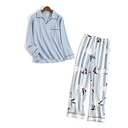 Domicilio A Blue Pantalones Algodón Punto Y Mmllse Manga Larga Tejido Mujer Primavera Servicio Conjunto Otoño Pijamas De HA6x4qZ