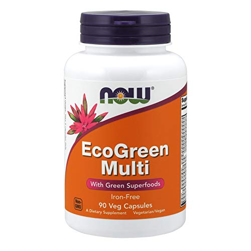 NOW Supplements, EcoGreen Multi Vitamin with Green Superfoods, Iron-Free 90 Veg Capsules