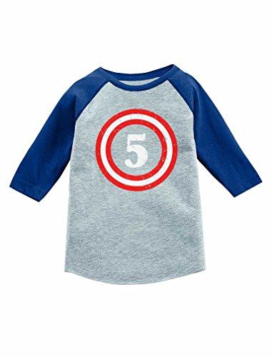 Tstars Captain 5th Five Year Old Birthday Gift 3/4 Sleeve Baseball Jersey Toddler Shirt 5/6 Blue