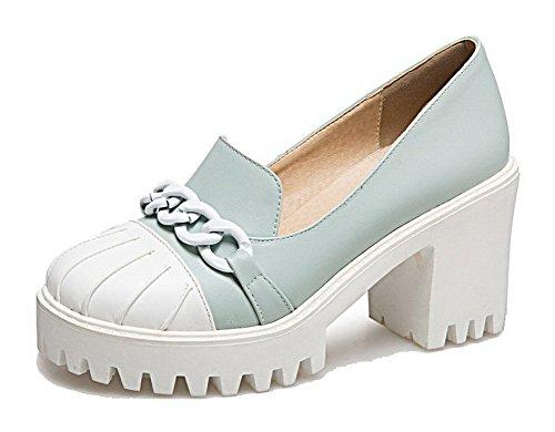 AllhqFashion Womens Round-Toe High-Heels PU Solid Pull-On Pumps-Shoes Blue