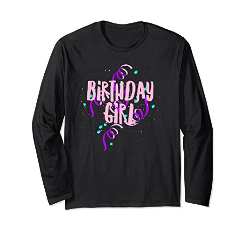 Unisex Birthday Tshirt Girl Purple Pink Spiral Confetti Gift 2XL Black