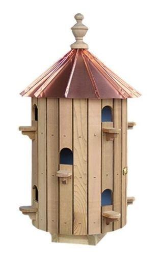 Lana45 Cedar Wood 10-Hole Bird House with Low Copper Roof Garden Need