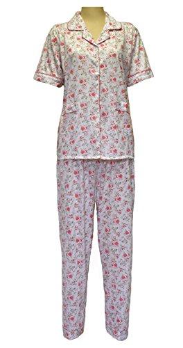a con bottoni fiori con notte Pigiama cotone da stampa pigiama Pink colletto e donna TpZnIq0P