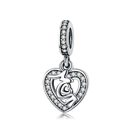Everbling Mother's Love Mom in Heart Clear CZ Dangle 925 Sterling Silver Bead Fits European Charm Bracelet