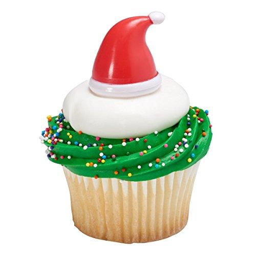 Santa Hat Christmas Holiday Cupcake Topper - Pack of 24