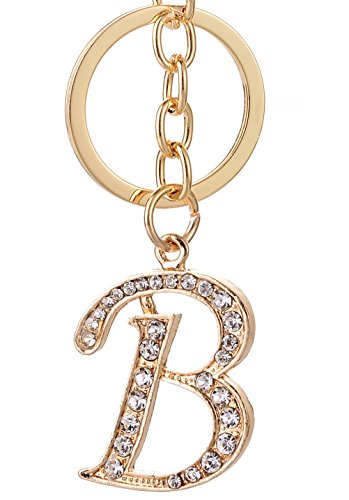 Keychain for Women AlphaAcc Purse Charms for Handbags Crystal Alphabet Initial Letter Pendant with Key Ring,Letter - Bag Key Ring