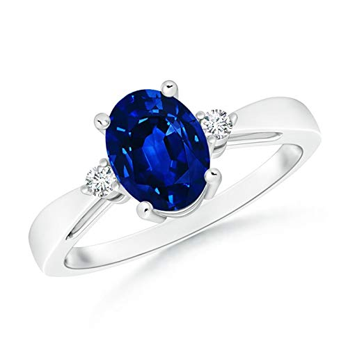 Tapered Shank Blue Sapphire Solitaire Ring with Diamond Accents in 14K White Gold (8x6mm Blue Sapphire)