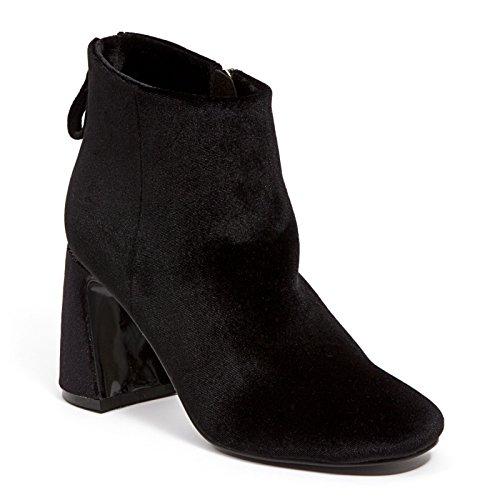 Botín De Terciopelo Con Cremallera Y Zapatos De Mujer Heel Ninty Union Enrollados Por Lady Couture, Maravilloso Negro