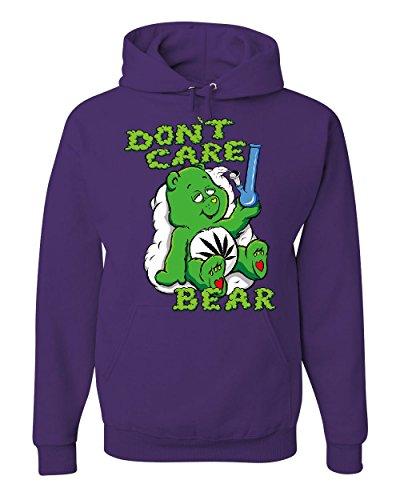 Tee Hunt Don't Care Bear Bong Hoodie Get High Marijuana Smoking Weed 420 Sweatshirt Purple 2XL - Care Bears Hoodie