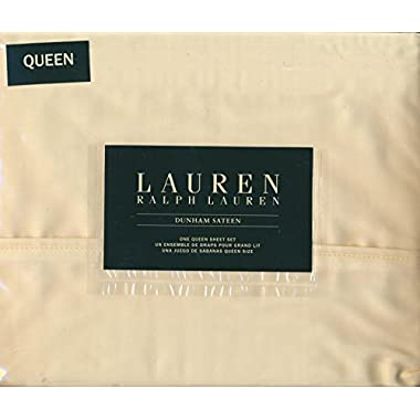 Lauren Ralph Lauren Queen Size Dunham Sateen 4 Piece Sheet Set - 100% Cotton Daffodil (Pale Yellow)