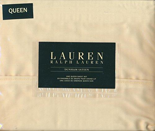 Ralph Lauren Yellow Paisley - Lauren Ralph Lauren Queen Size Dunham Sateen 4 Piece Sheet Set - 100% Cotton Daffodil (Pale Yellow)