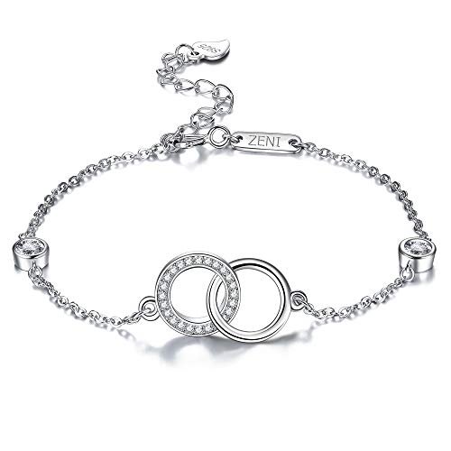 ZENI 925 Sterling Silver Bracelets for Women Girls Timeless Dainty Interlocking Love Circles with Cubic Zirconia for Her Adjustable 16+3cm