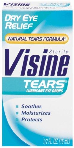 Visine Tears Lubricant Eye Drops for Dry Eye Relief, 0.5-Ounce Bottles (Pack of 3)