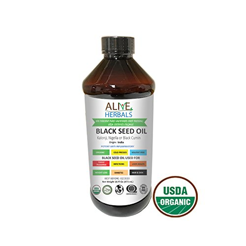 Alive Herbal Black Seed Oil Indian, Cold Pressed Organic -100% Raw, First Pressing, Unfiltered, Vegan & Non-GMO, No Preservatives & Artificial Color (8 oz. Plastic Bottle)