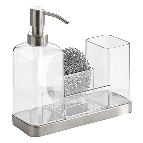 InterDesign Forma Kitchen Caddy with Soap Dispenser Pump & Scrubby - Clear/Brushed Stainless Steel