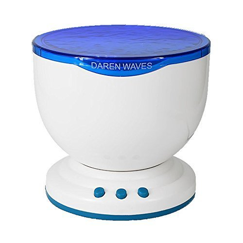 Recomfit Romantic Ocean Waves Light Relax Projector Pot Lamp, Mp3 Iphone Speaker, LED Star Night Light Projector, Music Projection (White&blue)