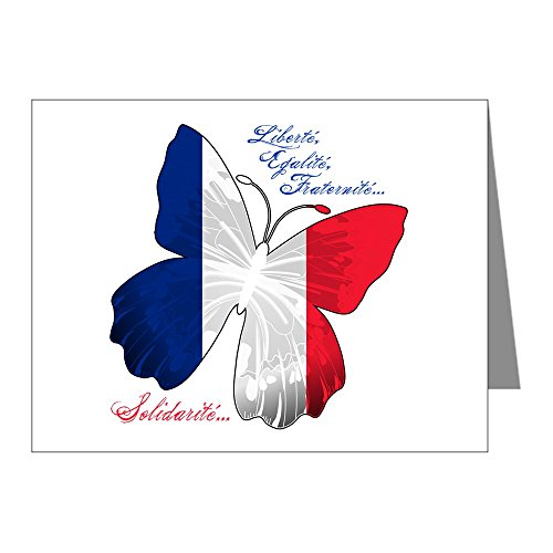 (Note Cards (10 Pack) French Flag Butterfly Solidarite)