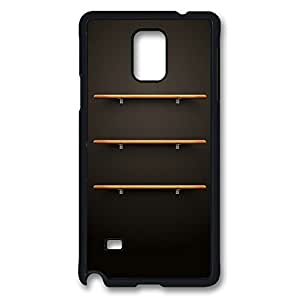 Galaxy Note 4 Case, 3 Wood Shelves Design Print Pattern Perfection Case [Anti-Slip Feature] [Perfect Slim Fit] Plastic Case Hard Black Covers for Samsung Galaxy Note 4