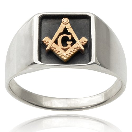 Aktion Mens 14k Goldplated Sterling Silver Masonic Ring (Sizes 7-12)